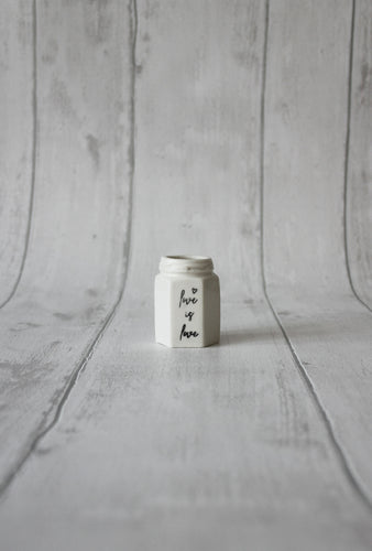 Porcelain Hexagon Jar - Love is love