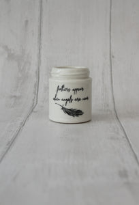Medium Porcelain Jar - Feathers appears when angels are near