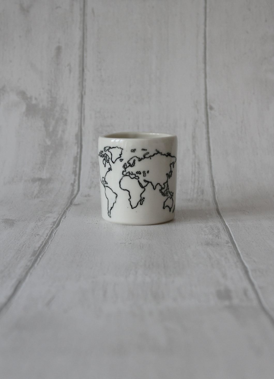 Medium Porcelain Jar - World map