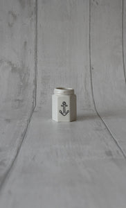Porcelain Hexagon Jar - Anchor