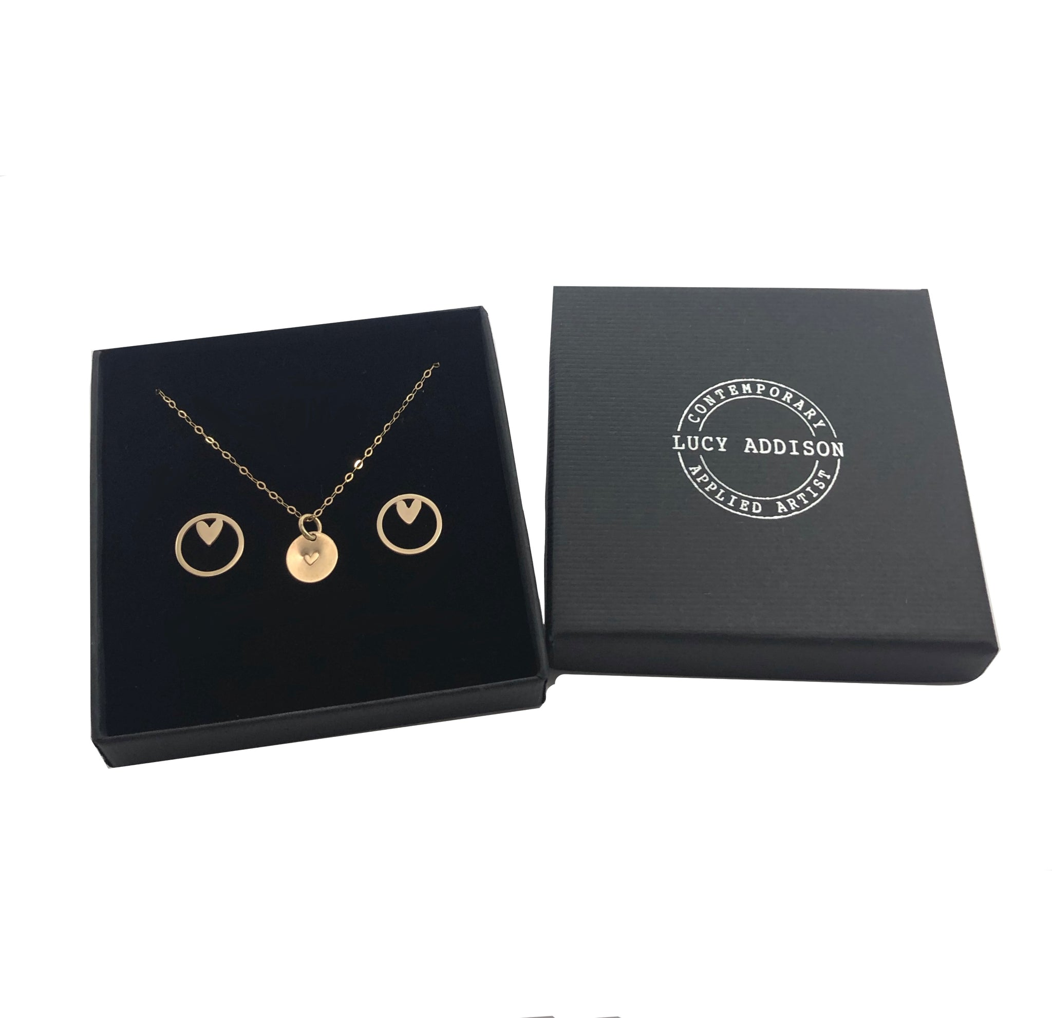Gold Disc Heart Necklace & Maxi Gold Heart Studs
