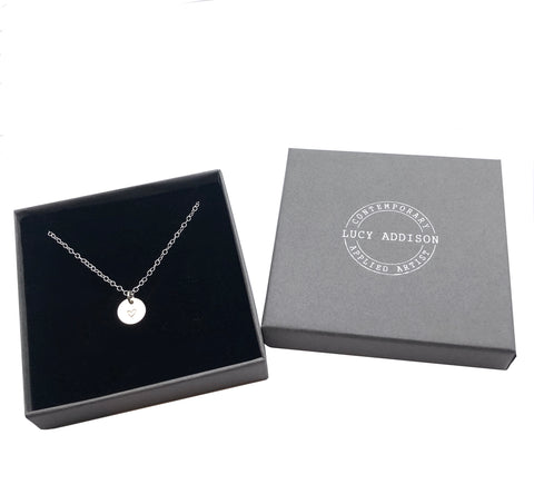 Silver Disc Heart Necklace