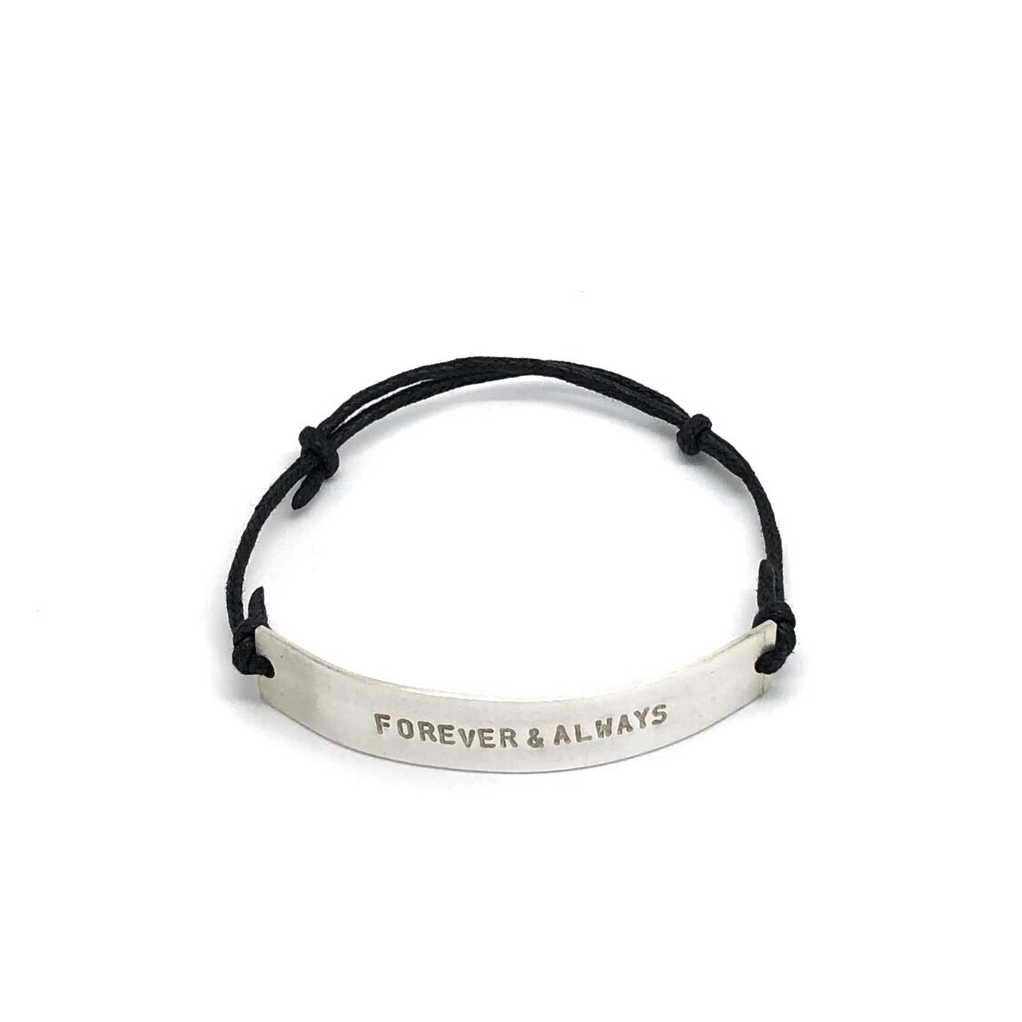 Thick Cord & Silver Bracelet 'Always & Forever'