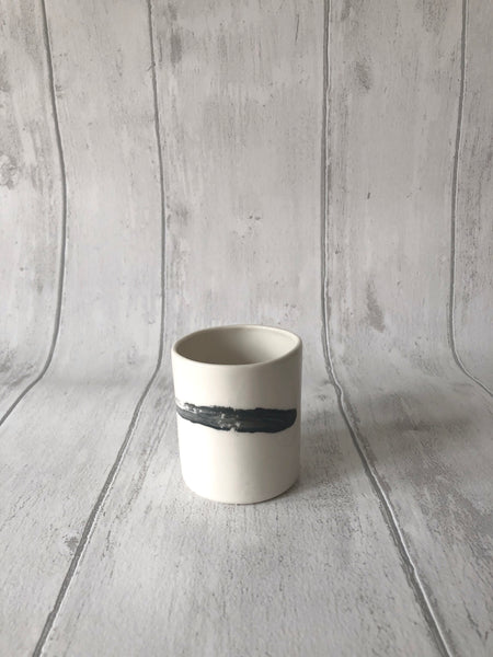 Medium Porcelain Jar - Brush strokes
