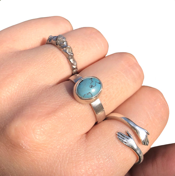 Turquoise Silver Ring Size O