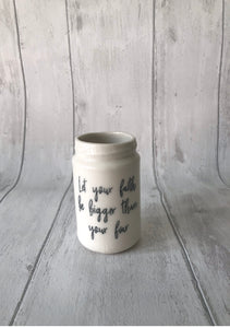 Large Porcelain Jar with quote