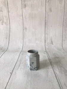 Porcelain Hexagon Jar - marbled grey with heart