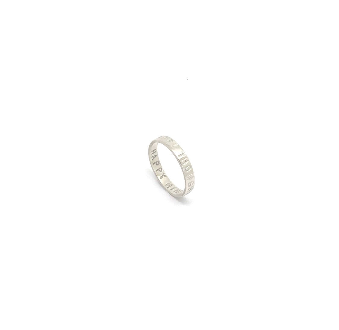 Thin Silver Ring 'happy thoughts happy mind'