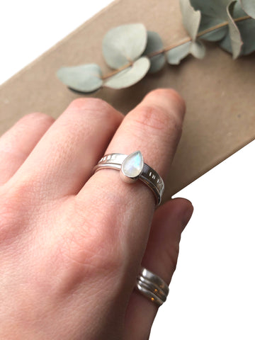 Stacking Rings, Pear Rainbow Moonstone & Personalised Band