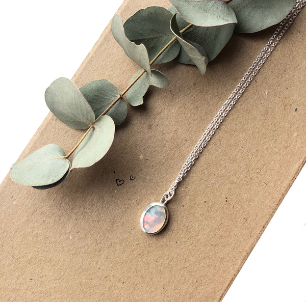 Rosecut Opal Necklace, Heart Back