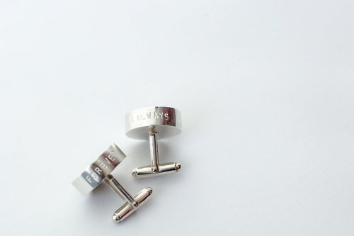 Silver Bezel Cufflinks 'Forever & Always'