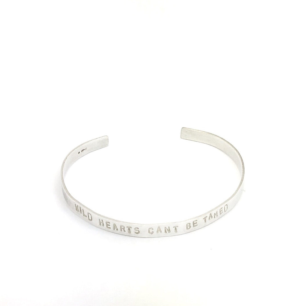 Silver Cuff Bangle 'Wild Hearts Can't Be Tamed'