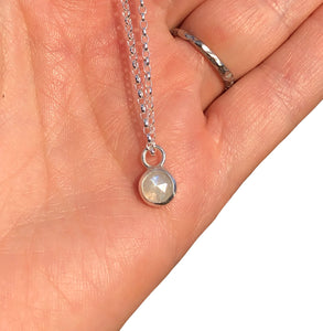 Rose cut Rainbow Moonstone Necklace