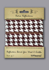 Vizavee Reflective Band for wrist or ankle brown houndstooth