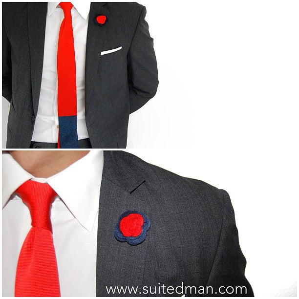 Knit Tie, Colorblock, Red/Blue - SuitedMan