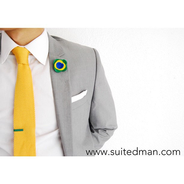 Pin Lapel Flower, Felt, Colorblock, Brazil - SuitedMan