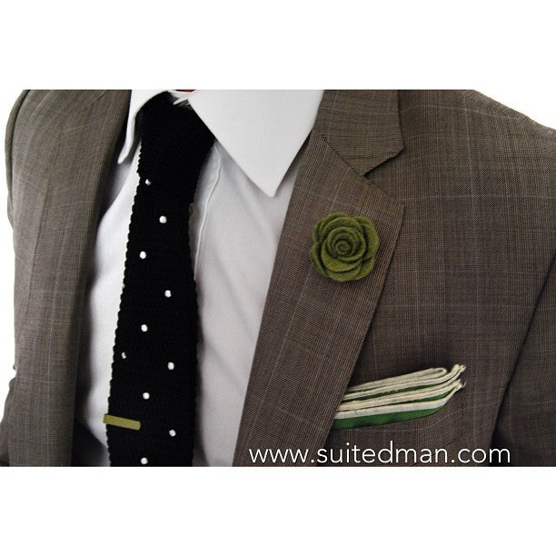 Pocket Square, Linen, Green - SuitedMan