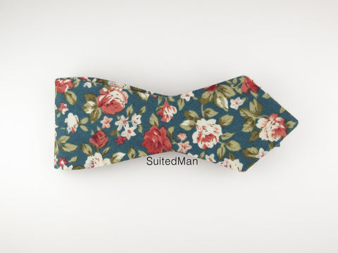 Floral Bow Tie, Antique Rose, Pointed End - SuitedMan