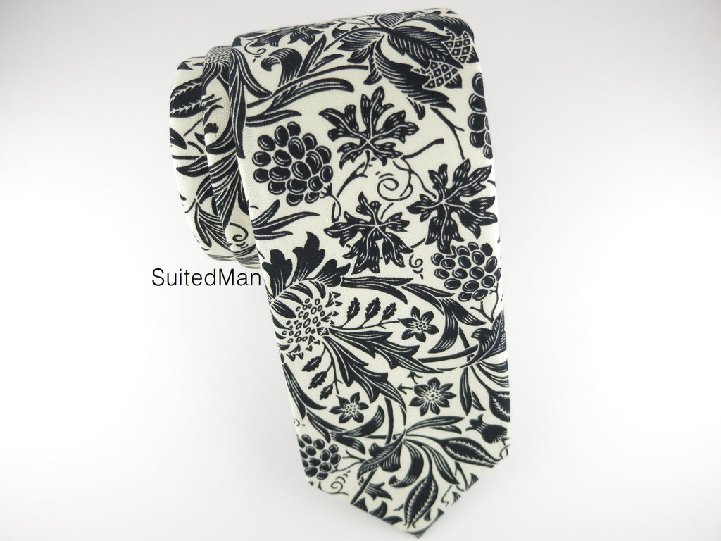 Floral Tie, Antique White/Black Floral - SuitedMan