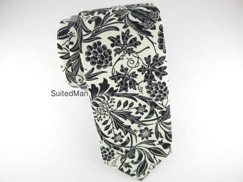 Floral Tie, Antique White/Black Floral