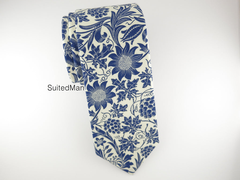 Floral Tie, Antique White/Blue Floral - SuitedMan