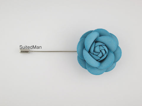 Lapel Flower, Leather Camellia, Aqua Blue