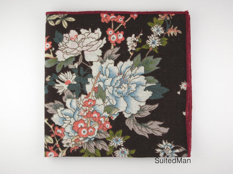 Pocket Square, Autumn Peonies