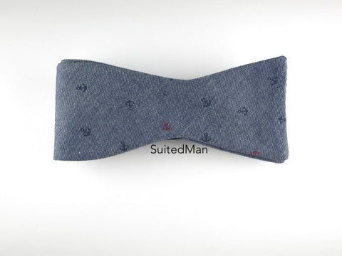 Bow Tie, Blue Chambray Anchors, Flat End - SuitedMan