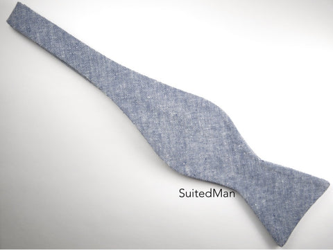 Bow Tie, Blue Chambray, Flat End - SuitedMan