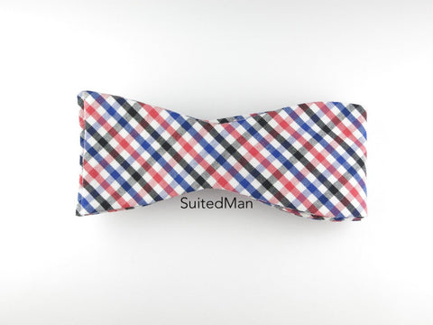 Bow Tie, Gingham, Multicolor, Flat End