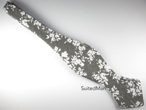 Floral Bow Tie, Gray Floral, Pointed End - SuitedMan