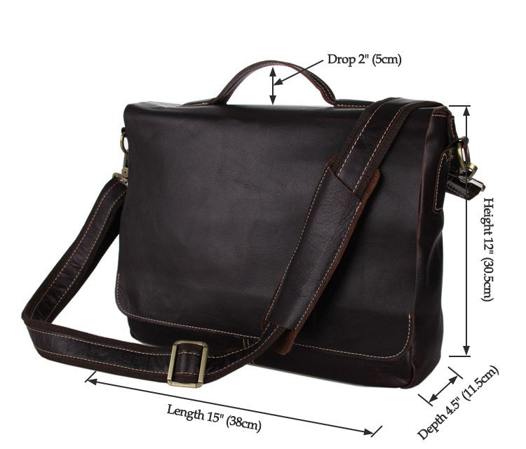 SuitedMan Briefcase/Messenger Bag, Chocolate - SuitedMan