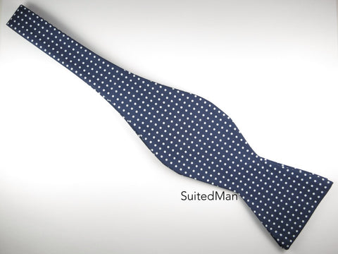 Bow Tie, Polka Dots, Navy, Flat End - SuitedMan