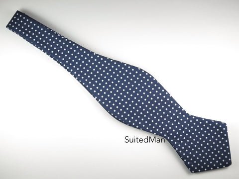 Bow Tie, Polka Dots, Navy, Pointed End
