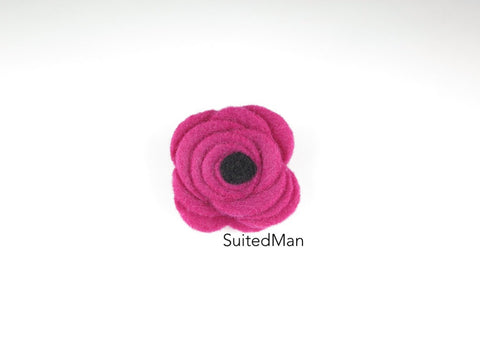 Button Lapel Flower, Felt, Magenta/Black Poppy