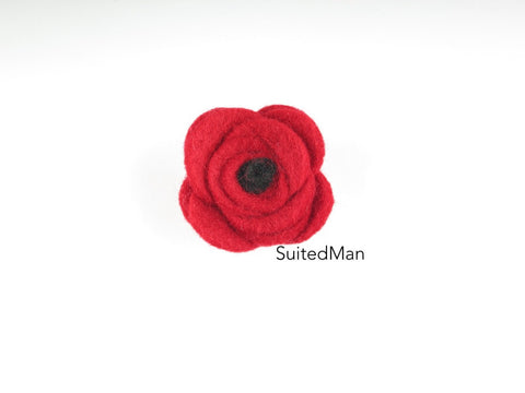 Button Lapel Flower, Felt, Red/Black Poppy