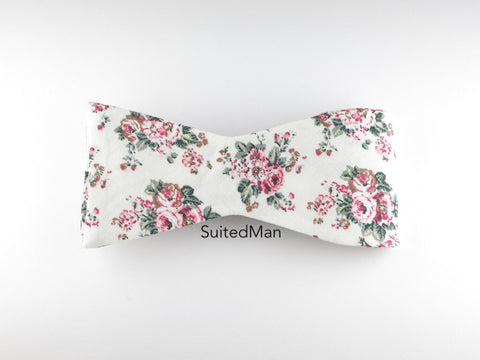 Floral Bow Tie, White Vintage Bloom, Flat End