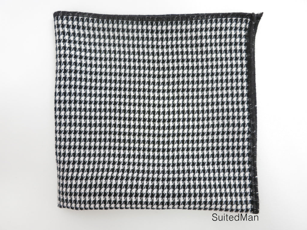 Pocket Square, Houndstooth, Black - SuitedMan