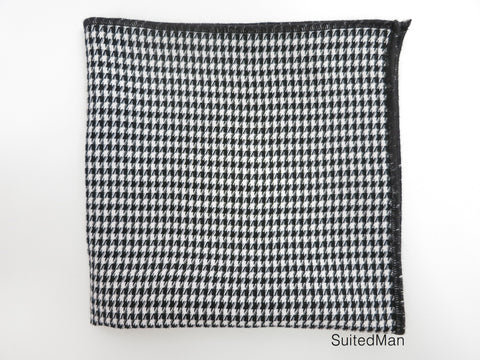 Pocket Square, Houndstooth, Black