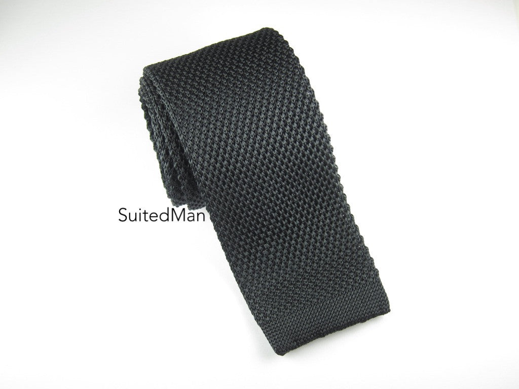 Knit Tie, Black - SuitedMan