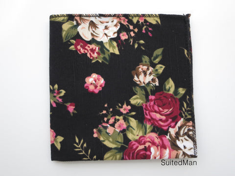 Pocket Square, Rose Noir en Bloom