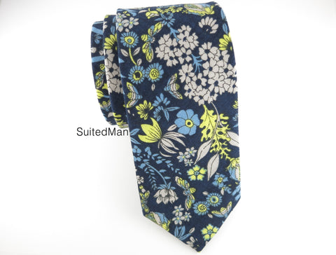 Floral Tie, Blue Canary