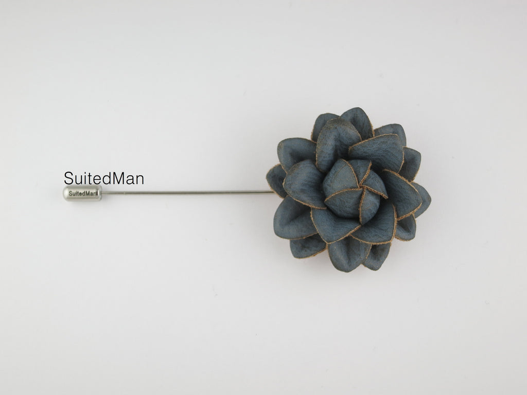 Lapel Flower, Leather Starflower, Cornflower Blue - SuitedMan