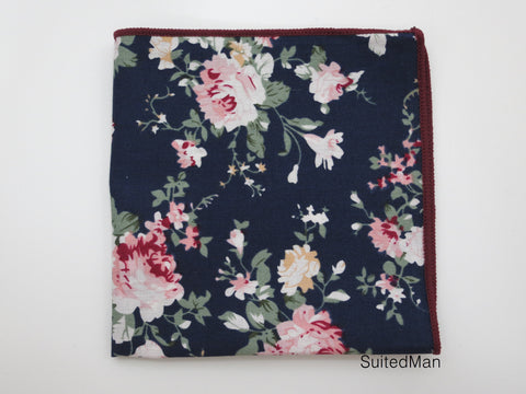 Pocket Square, Navy Peach Floral - SuitedMan