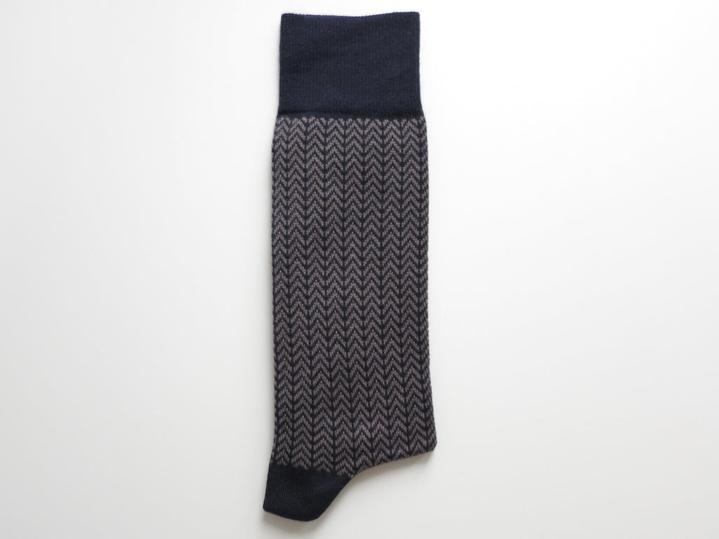 Socks, Herringbone, Vintage Navy/Gray - SuitedMan