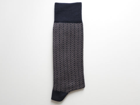 Socks, Herringbone, Vintage Navy/Gray