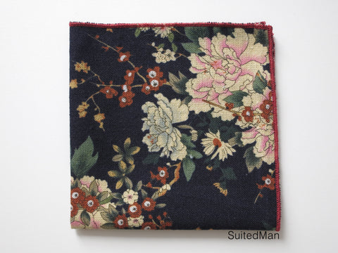 Pocket Square, Navy Peonies