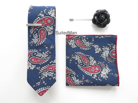 The Navy/Red Paisley Set