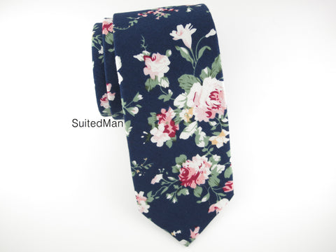 Floral Tie, Navy Peach Rose