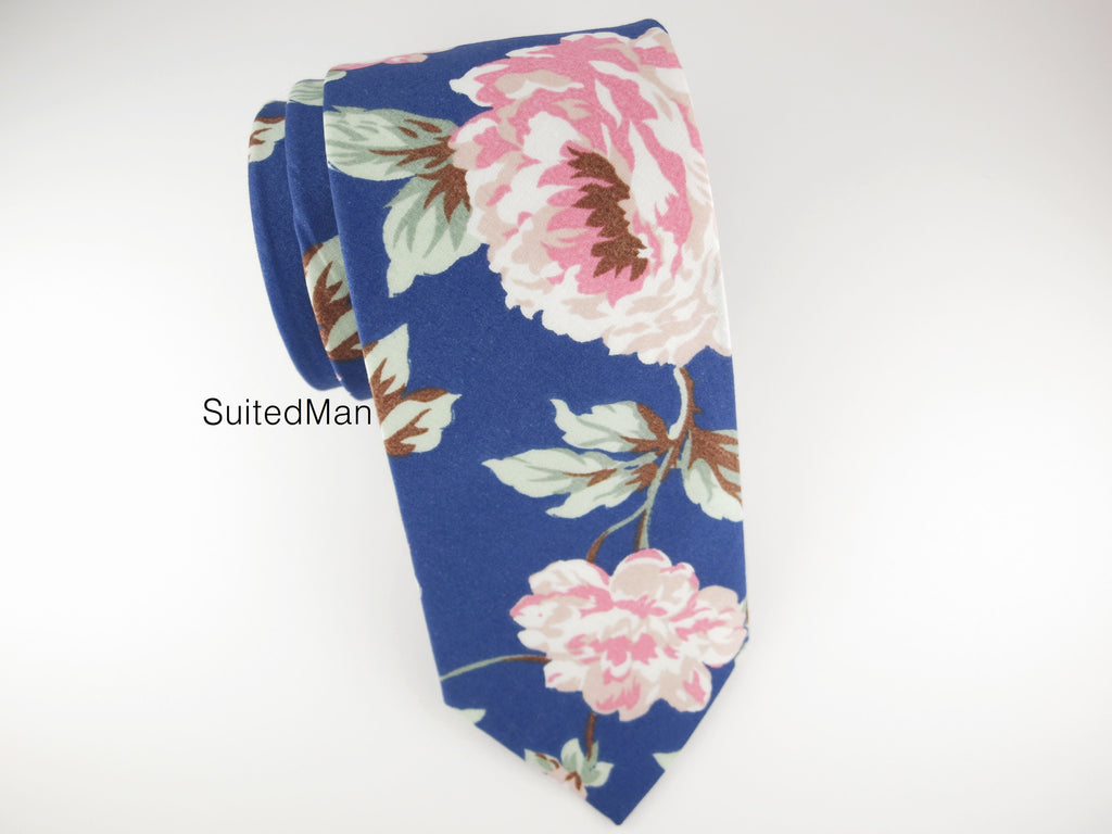 Floral Tie, Blue Peach Rose en Bloom - SuitedMan